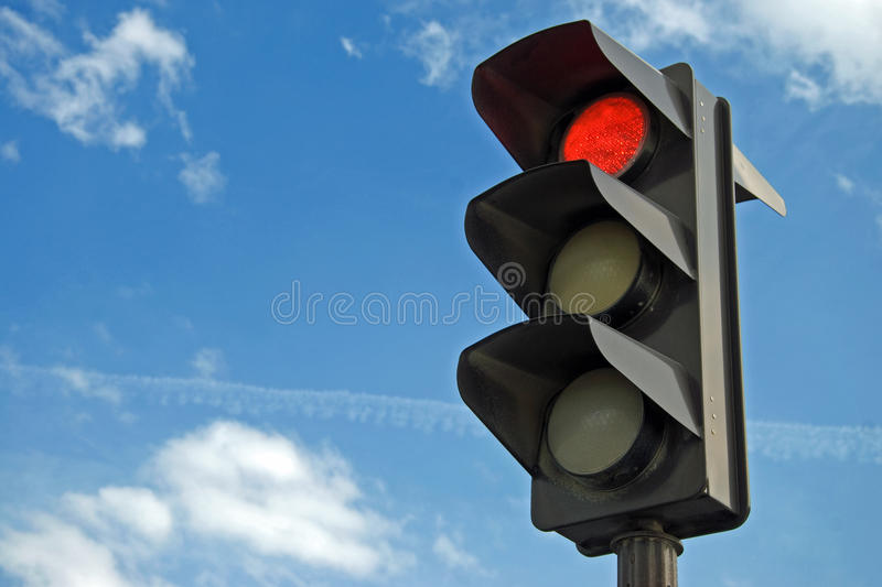 Red color on the traffic light royalty free stock photography
