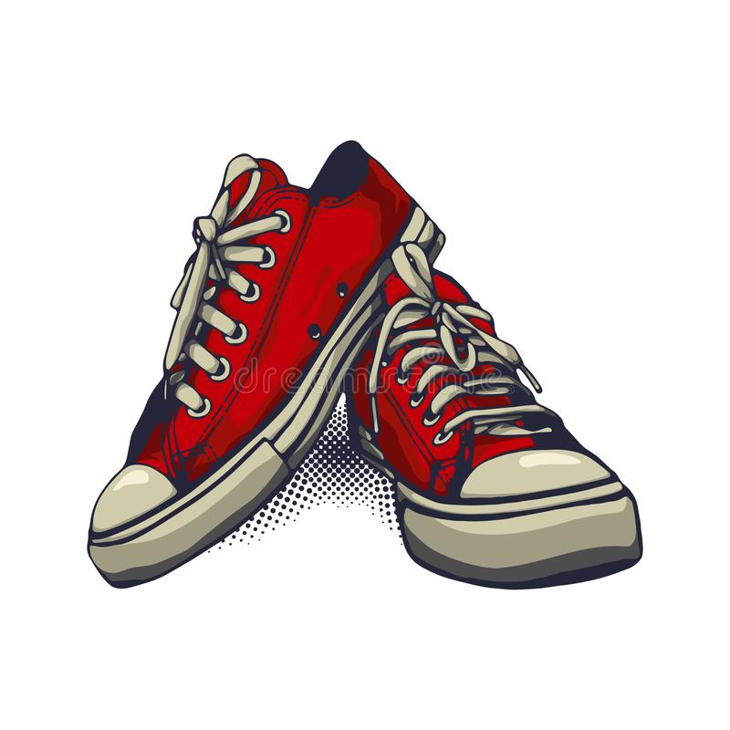 Red Color Vector Sneakers on iSolated White Background stock images