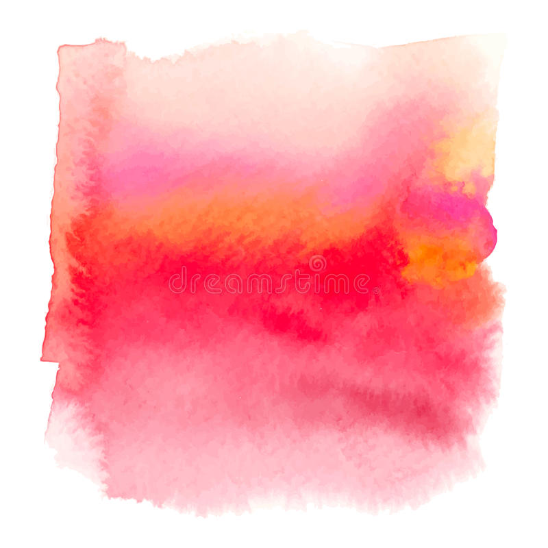 Red color watercolor hand drawn gradient banner. Paint wash stock illustration