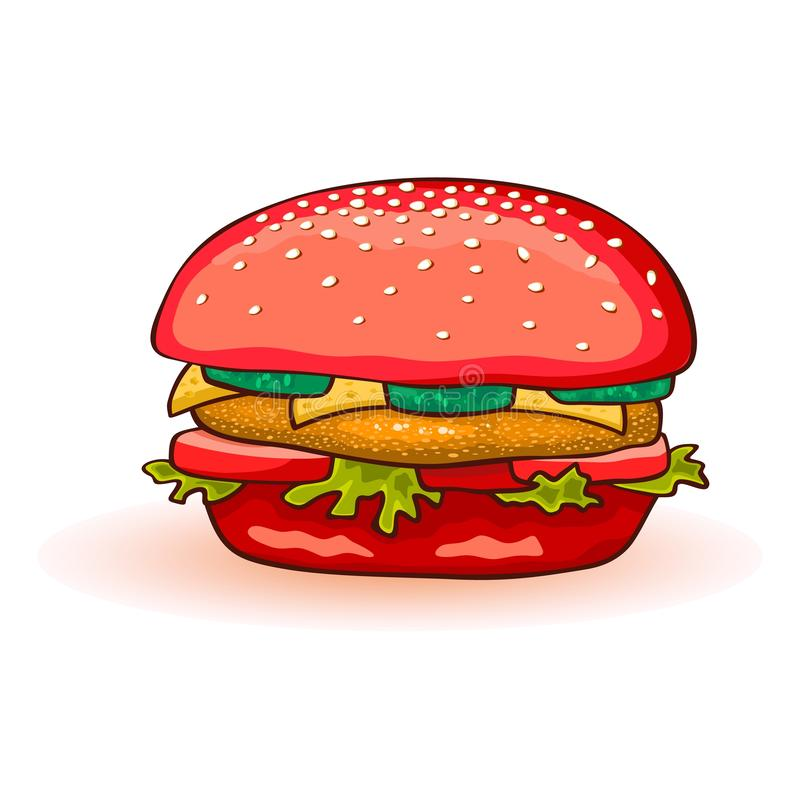 Red colored burger including beef patty, cheese, tomato, cucumber, lettuce, sauce, onions, mustard. stock illustration