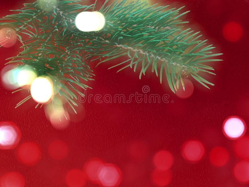 Red colored christmas background with Christmas tree branch in green. royalty free stock photos
