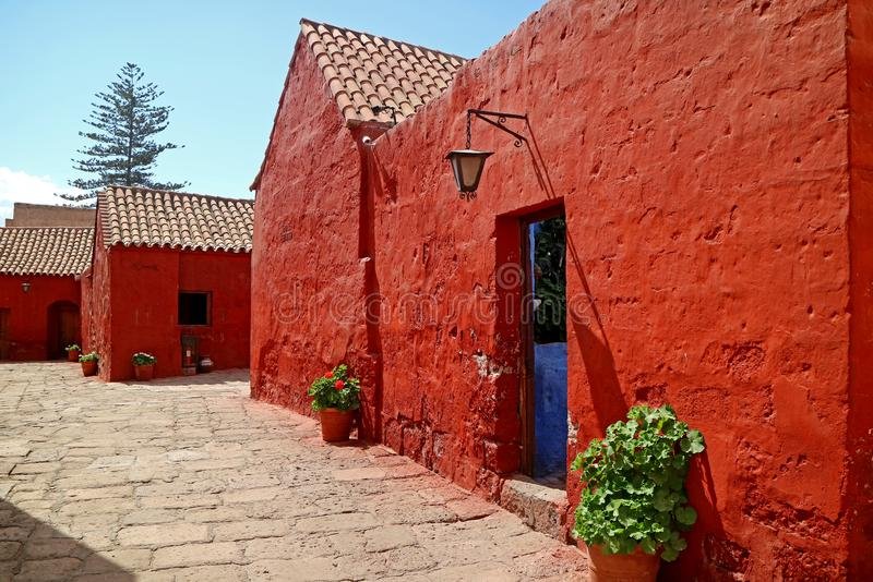 Red colored historic buildings in the Monastery of Santa Catalina, Arequipa, Peru. South America stock image