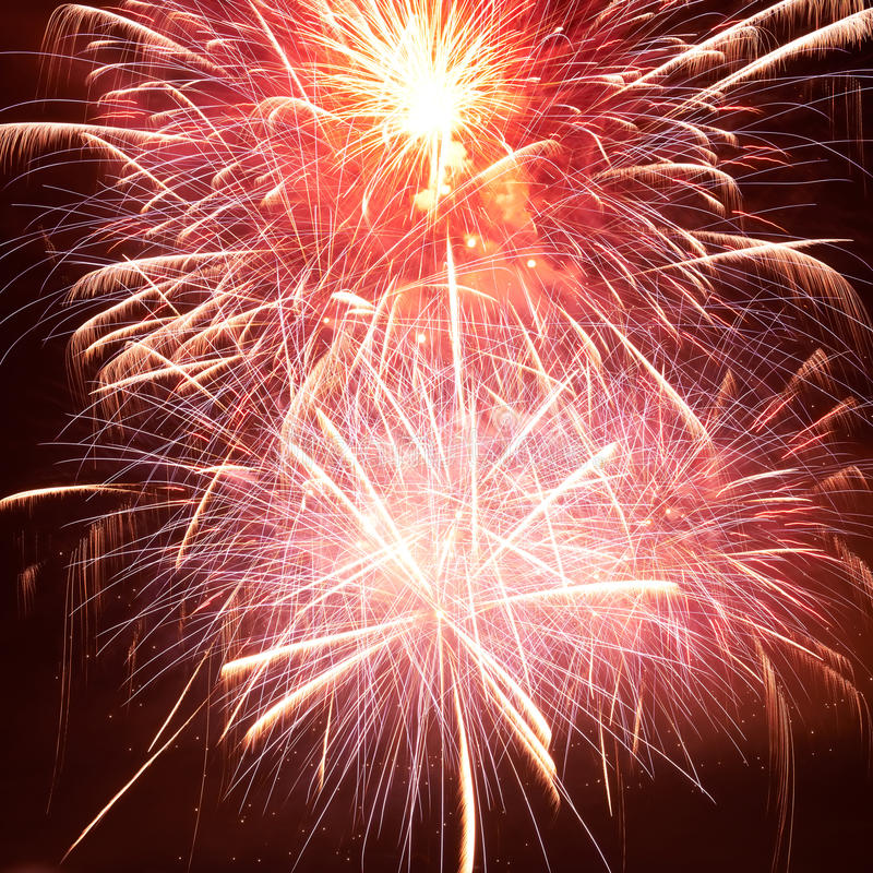 Red colorful fireworks. On the black sky background stock photo