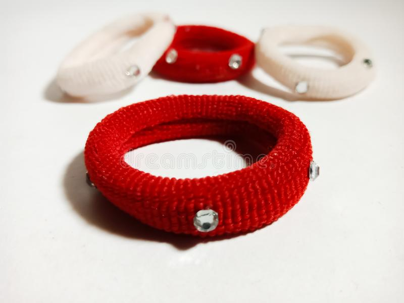 Red colour hair band isolated on white background royalty free stock photo