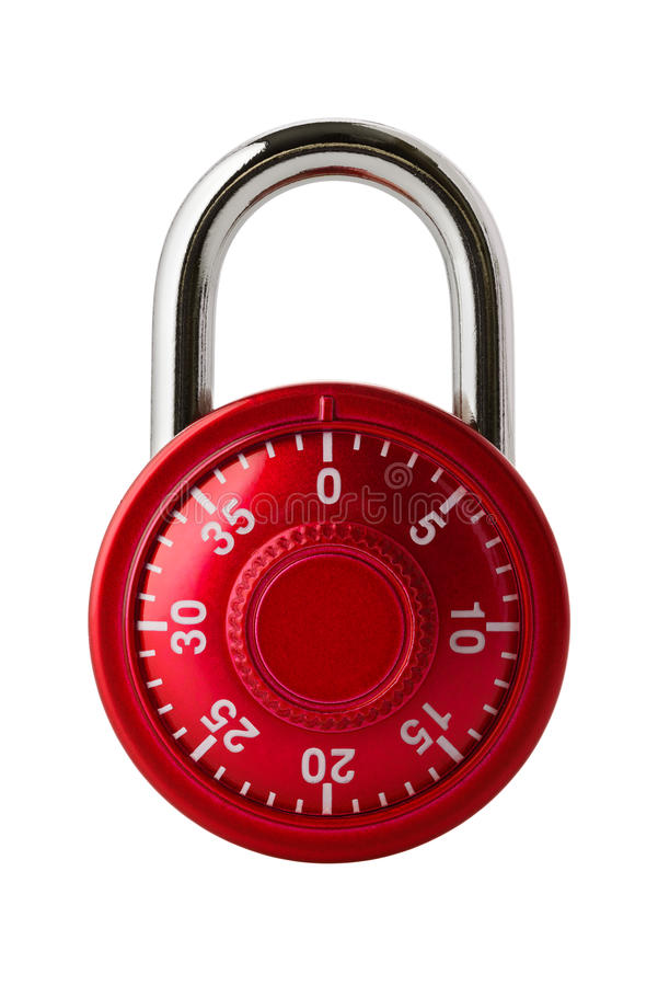 Red combination lock. Objects: red combination lock, isolated on white background royalty free stock images
