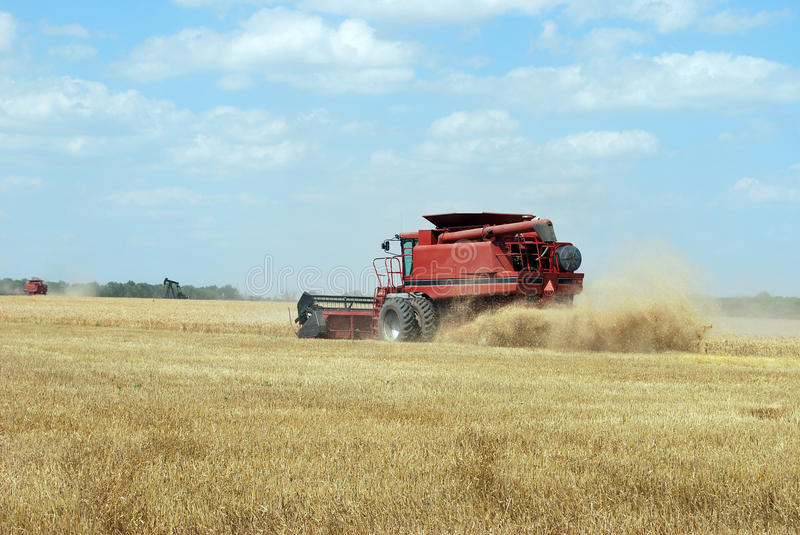 Download Red Combine Cuts Wheat Royalty Free Stock Photography - Image: 16132907