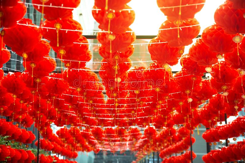 Red comp lamp lantern Chinese style hanging decorated in Chinese New Year festival. Red comp lamp lantern Chinese style hanging decorated in Chinese New Year royalty free stock photography