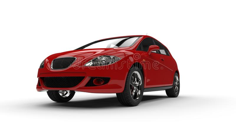 Red Compact Car Front Side. Red compact car isolated on white background royalty free stock photography