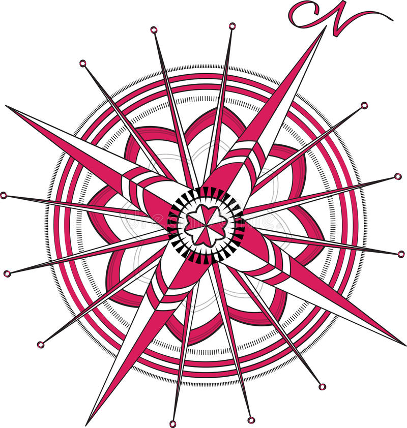 Red Compass Rose vector illustration