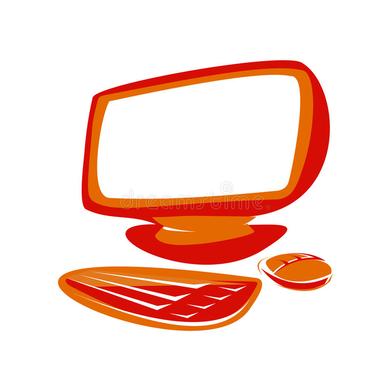Red computer. Computer screen, keyboard and mouse royalty free illustration
