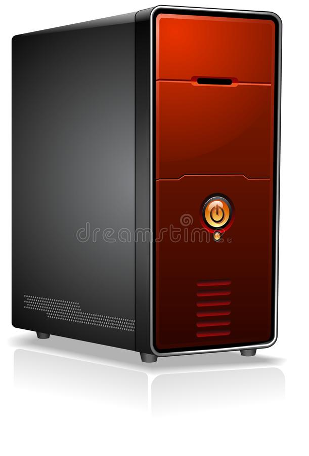 Download Red Computer Case stock vector. Image of desktop, electronics - 12541983