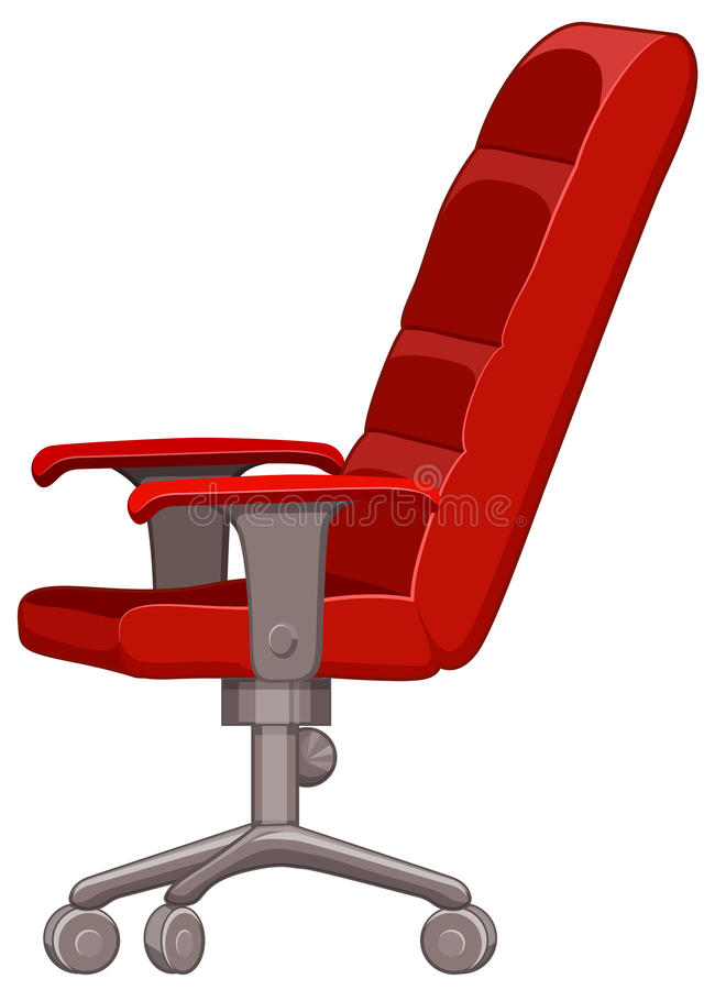 Red computer chair with wheels vector illustration