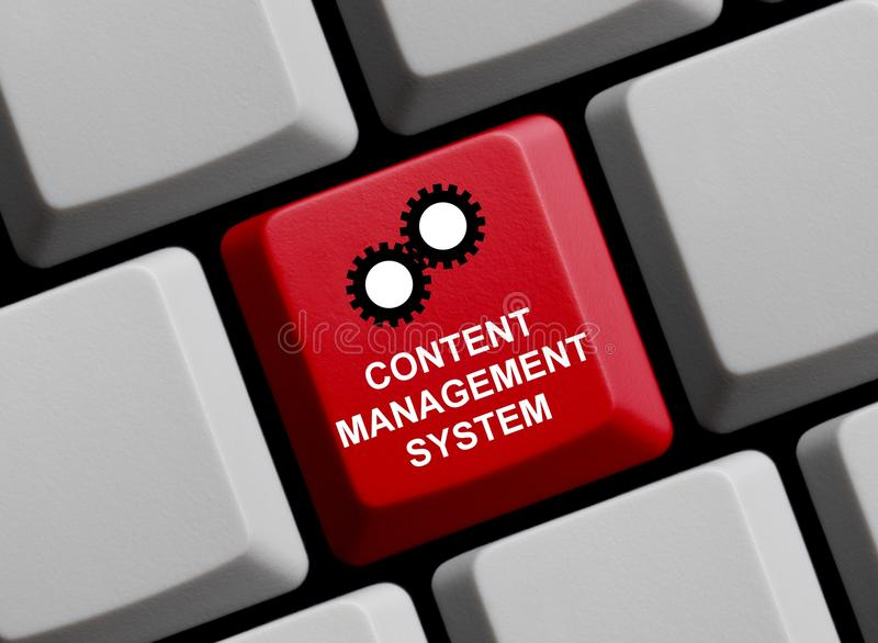Computer Keyboard: Content Management System. Red computer Keyboard showing Content Management System royalty free stock images