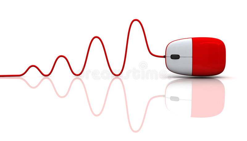 Red computer mouse with cable. Isolated on white background stock illustration