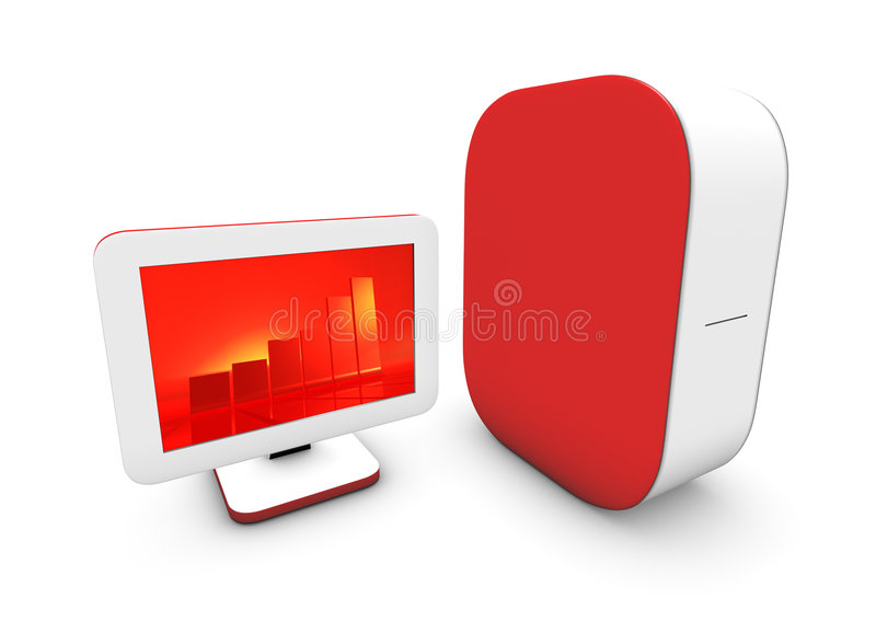 Red computer on white stock illustration