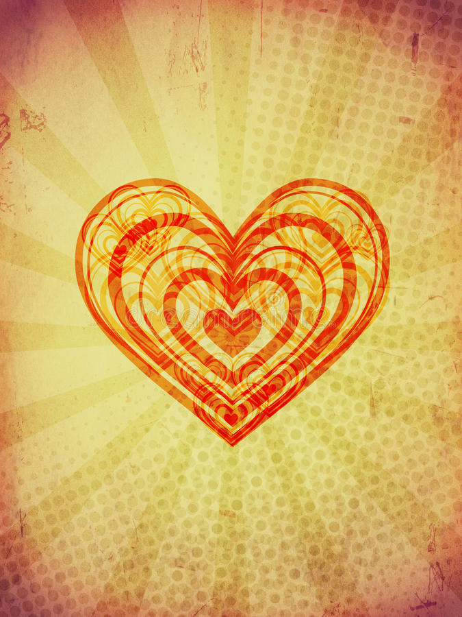 Red concentric hearts with rays on old paper royalty free stock images