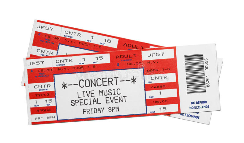 Red Concert Tickets. Pair of Blank Red Concert Performance Tickets Isolated on White Background royalty free stock image