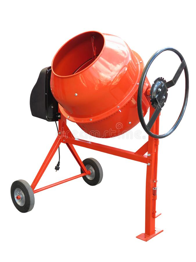 Red concrete mixer isolated on the white background stock photos