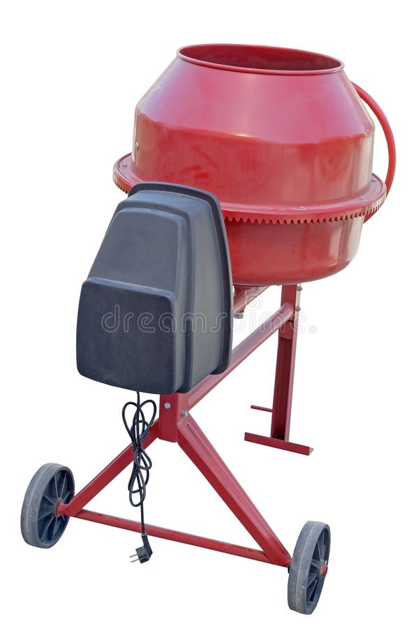 Red Concrete Mixer on white. Background stock images
