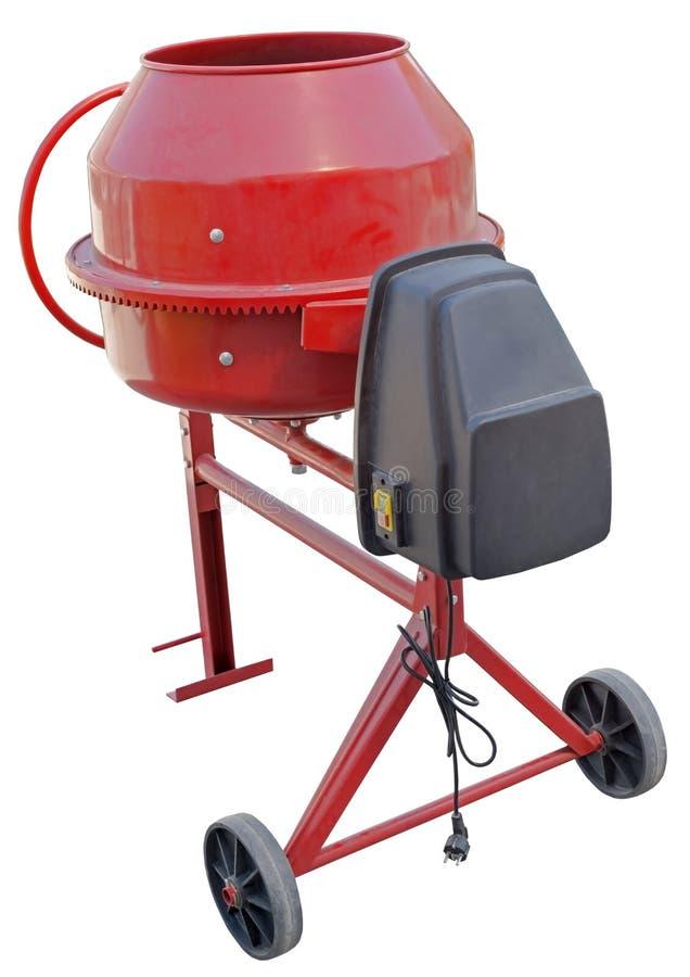Red Concrete Mixer on white. Background stock photo
