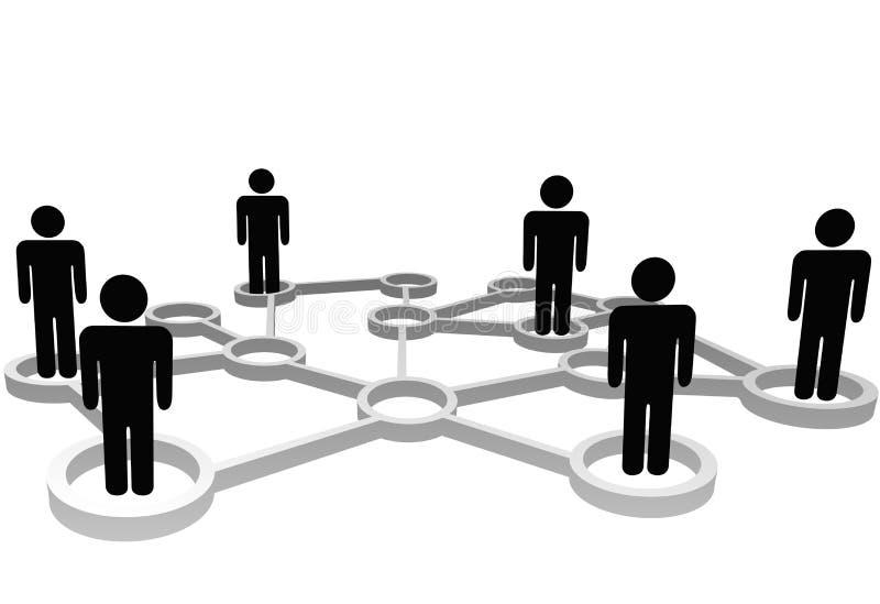 Red conectada del social del asunto de los nodos de la gente stock de ilustración