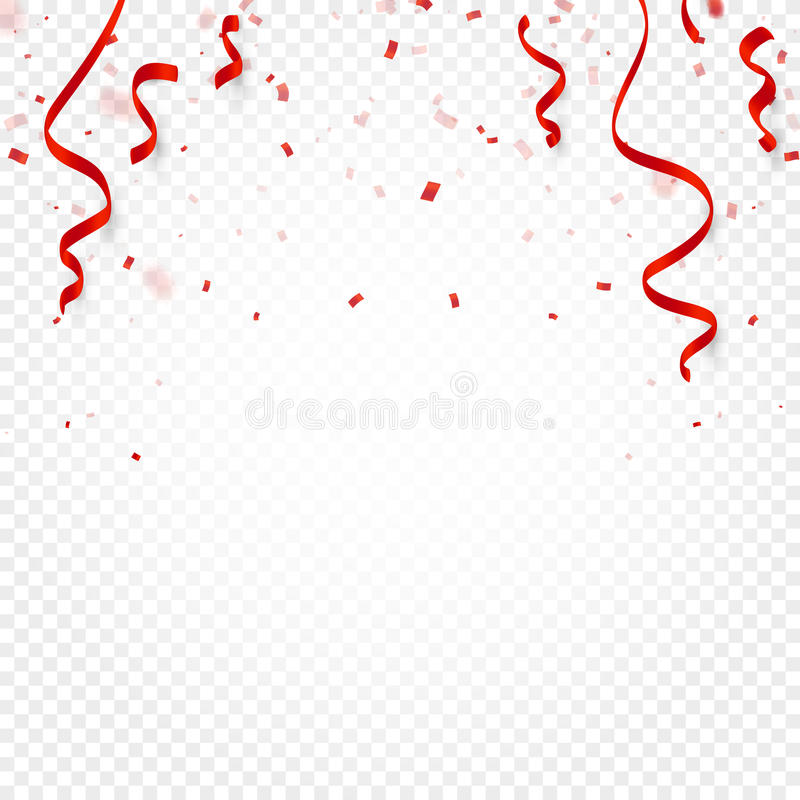 Red confetti, serpentine or ribbons falling on white transparent background vector illustration. Party, festival, fiesta vector illustration
