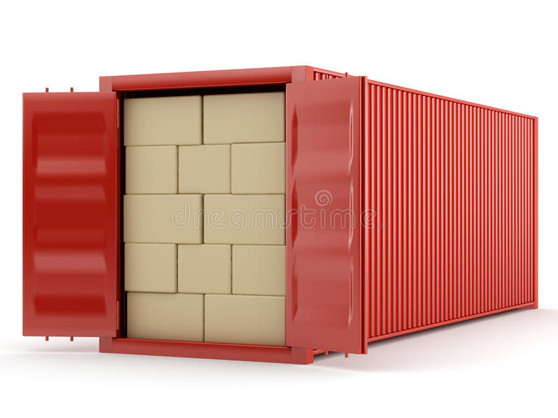 Red container packed boxes. Red container with boxes on white background vector illustration