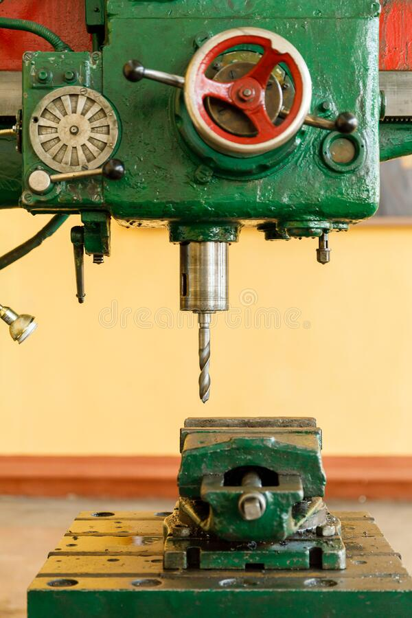 Red controls of the Universal old and green Milling Machine royalty free stock images