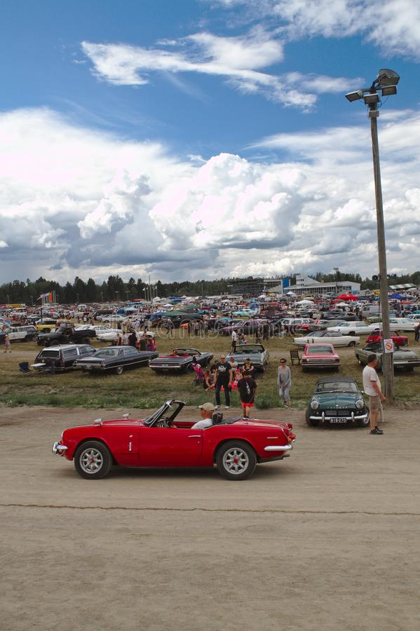 Red convertible at car show. Red convertible at Pick-Nick 2018, Classic car show in Forssa, Finland. 05.08.2018 Forssa, Finland action american antique auto stock images