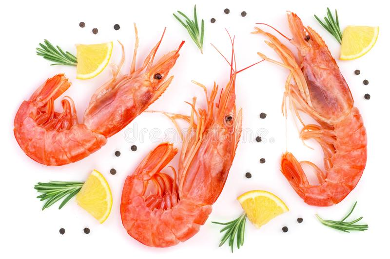 Red cooked prawn or shrimp with rosemary and lemon isolated on white background. Top view. Flat lay.  stock images