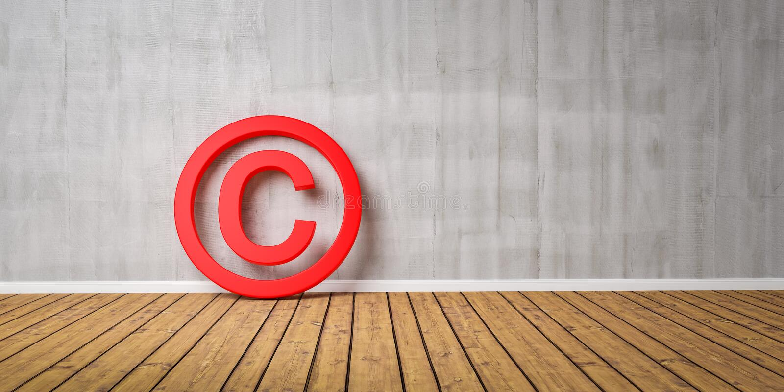 Red Copyright Symbol on Wodden Floor lean on Gray Grunge Wall with Copy Space - 3D-Illustration royalty free illustration