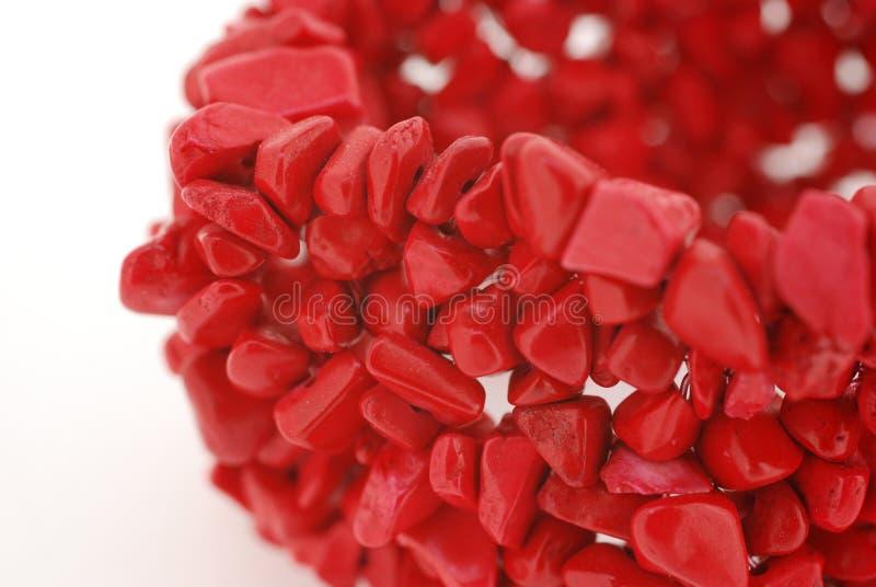 Red coral bracelet stock image
