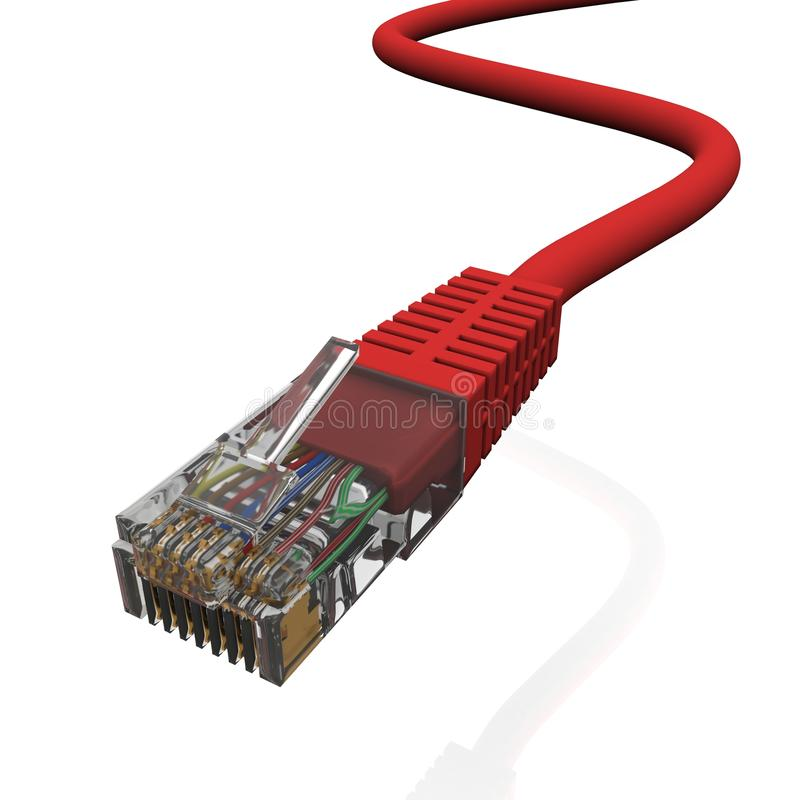 Free Red Cord With Connector Rj45 Royalty Free Stock Photos - 19355188