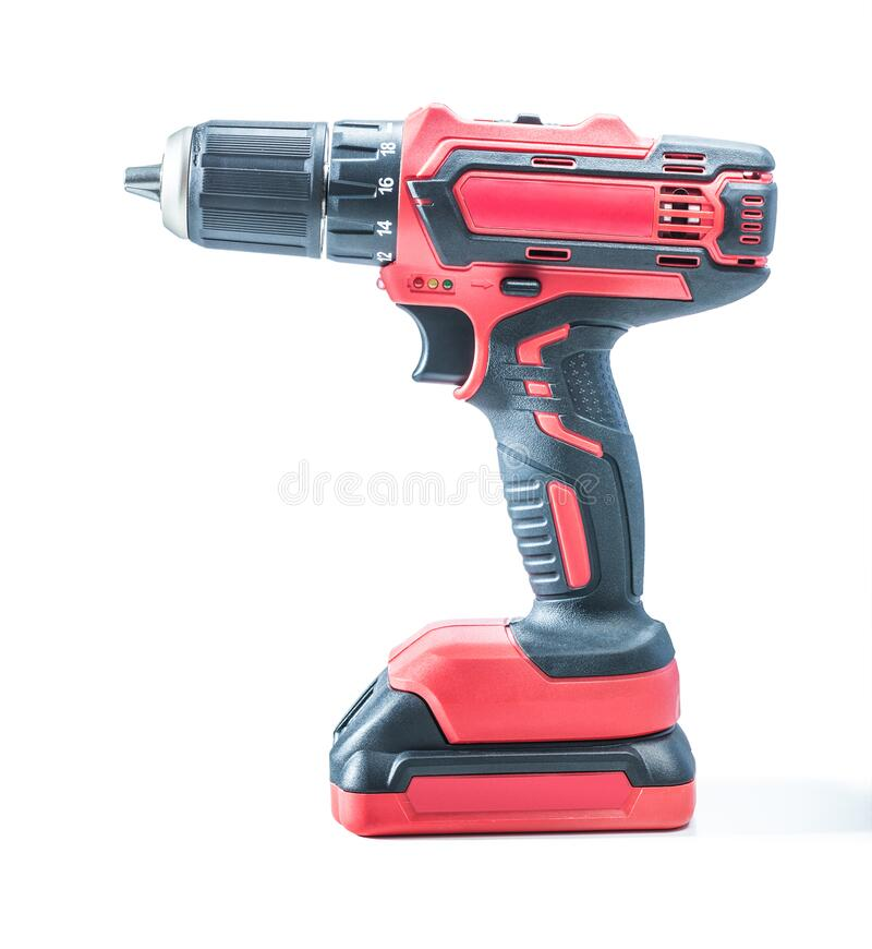 Free Red Cordless Drill Driver Electric Screwdriver Isolated On White Background Stock Photo - 169007400