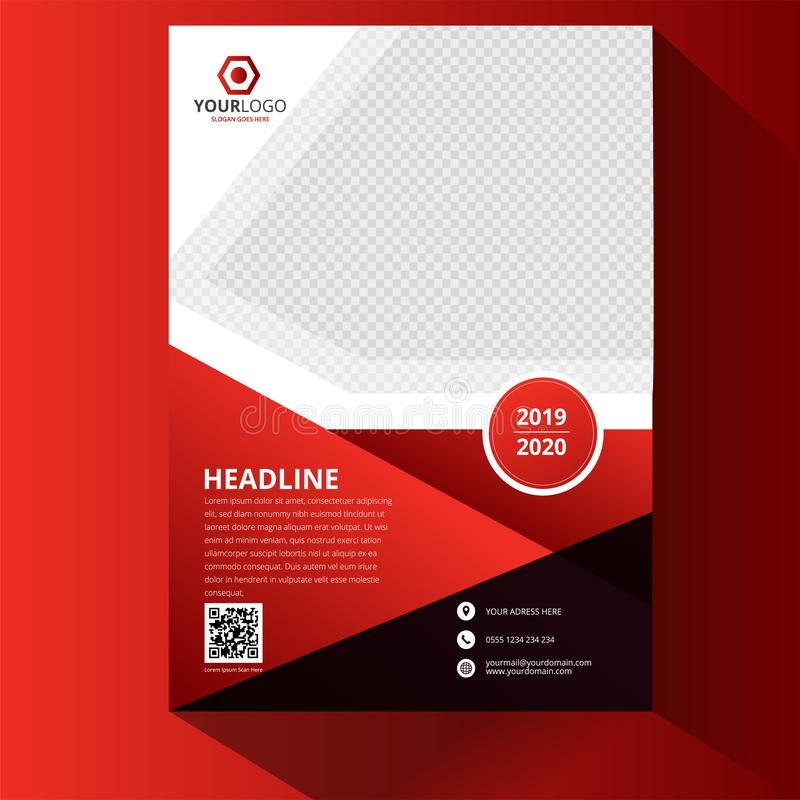 Red Corporate business annual report brochure flyer design. Leaflet cover presentation. Catalog with Abstract geometric royalty free illustration