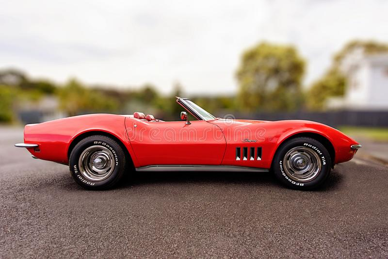 Red Corvette C3 Convertible Coupe Scale Model royalty free stock photography