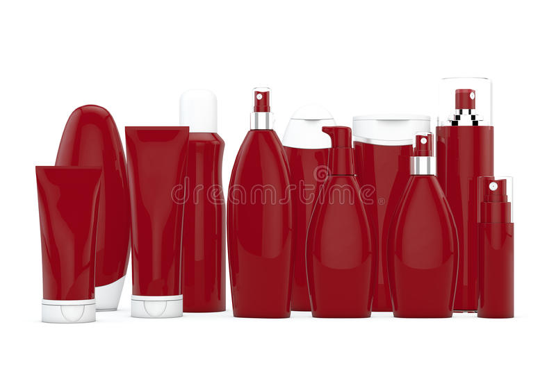 Red cosmetic bottles. On white background in two rows royalty free illustration