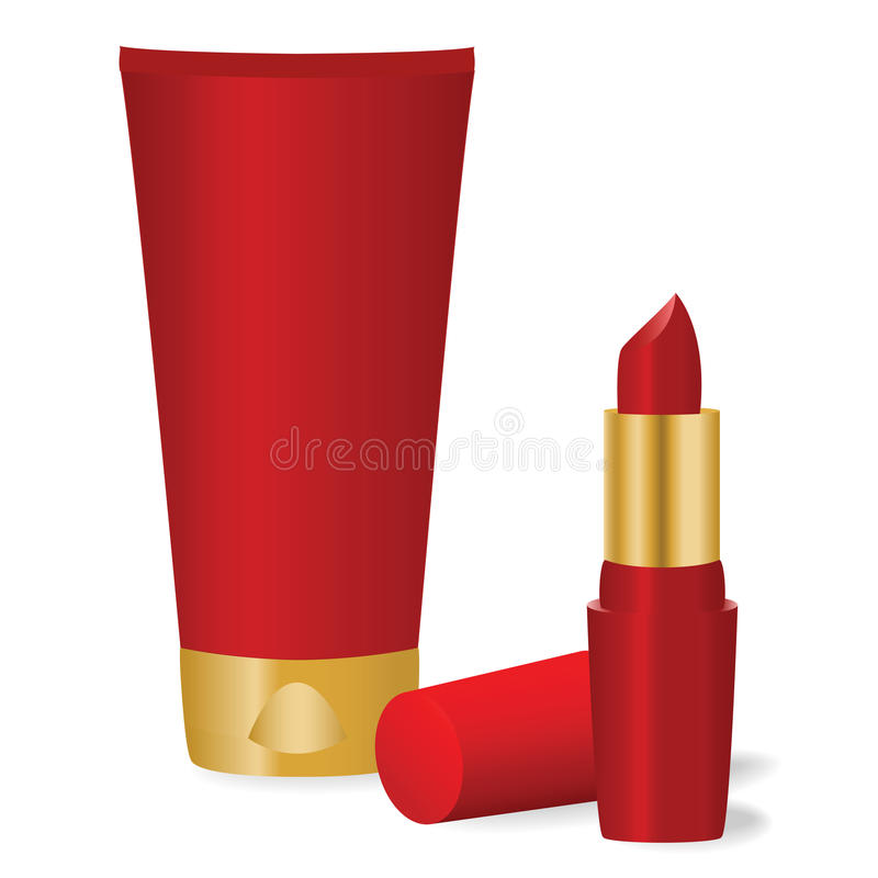 Download Red cosmetics stock vector. Illustration of female, lipstick - 15598759