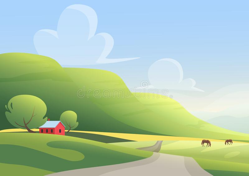 Red cottage and grazing horses on sides of countryside road against green hills and cloudy blue sky. Cartoon landscape. Vector illustration stock illustration