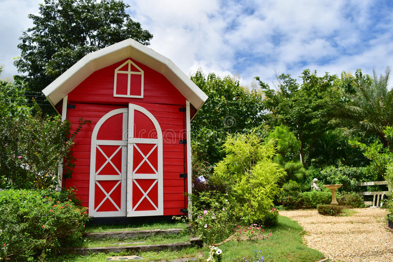 Download The Red Cottages In English Garden Style Stock Image