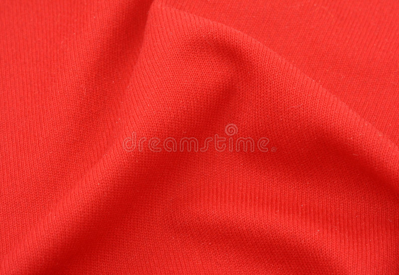 Red cotton fabric with crease royalty free stock image