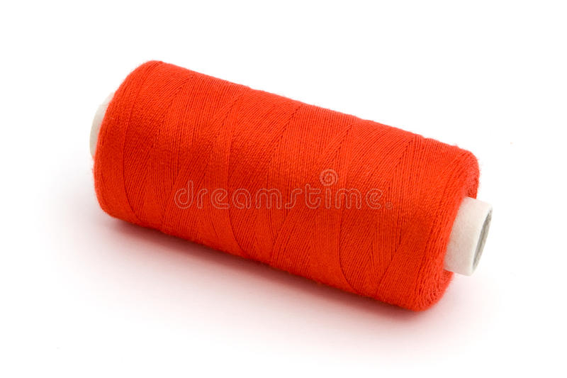 Download Red Cotton reel over white stock photo. Image of object - 19791370