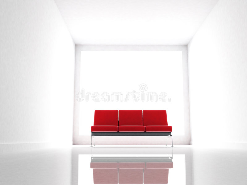 Red couch on a modern and white room vector illustration