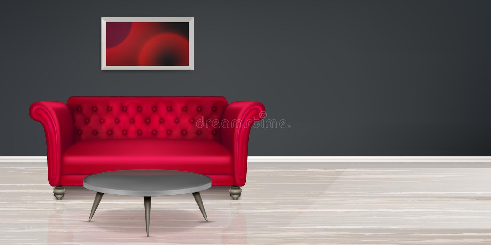Red couch, sofa modern dwelling interior design. Room with red couch, empty interior with buttoned leather sofa, coffee table and painting, black wall and light stock illustration