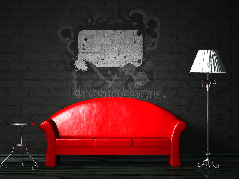 Red couch with splash stock illustration