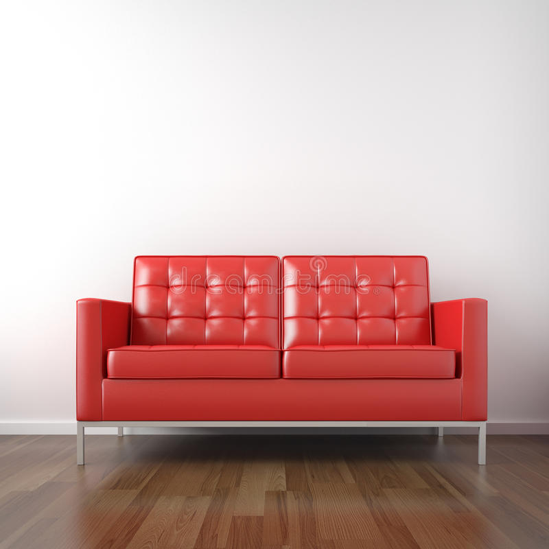 Red couch in white room vector illustration