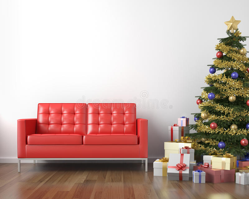 Red couch and xmas tree vector illustration