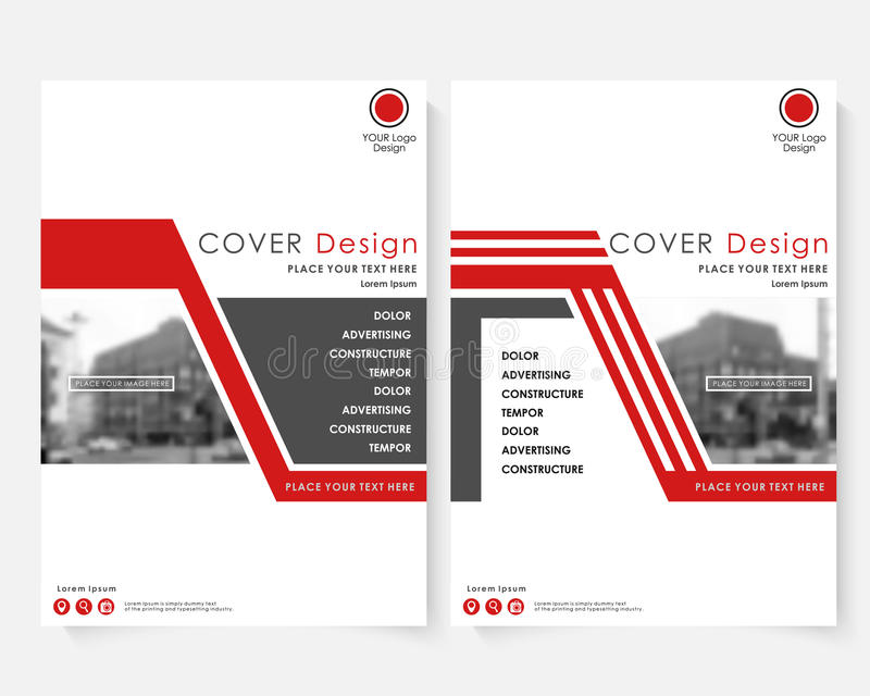 Red cover design template for annual report. Modern business concept booklet with infographics Flyer and leaflet vector illustration