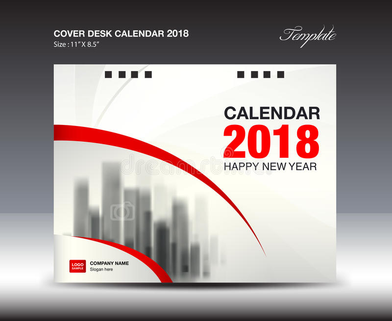 red cover desk calendar 2018 year booklet template stock vector