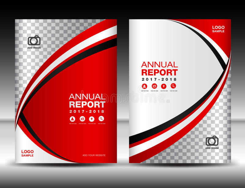 Annual Report Book Cover Design : Red cover template annual report design